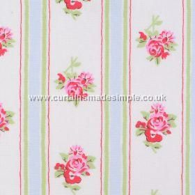 Rose Stripe - Rose Stripe - Cath Kidston white cotton fabric with pastel stripes and pink roses