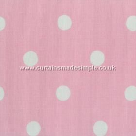 Spot - Pink - Pink cotton fabric with white spots