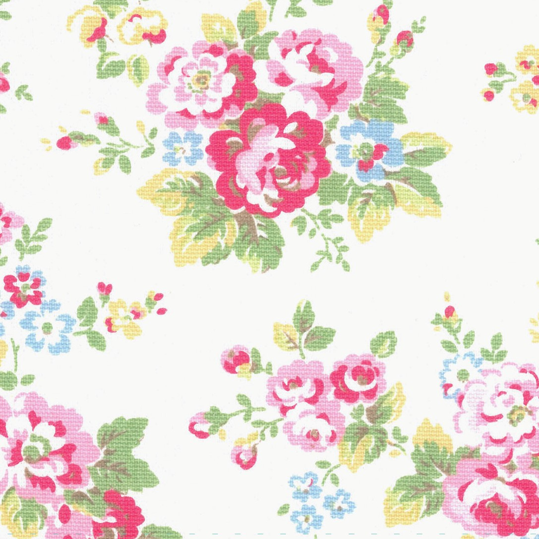 Spray Flowers Cotton Duck - White - Cath Kidston cream cotton fabric with pale pink and blue floral print