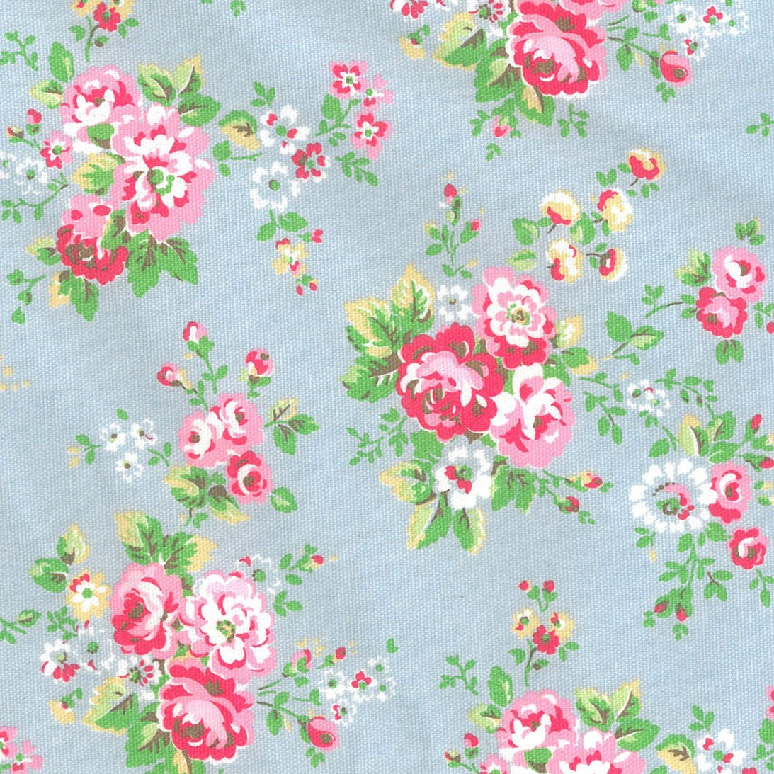 Spray Flowers - Blue - Cath Kidston blue cotton fabric with pink and green floral print