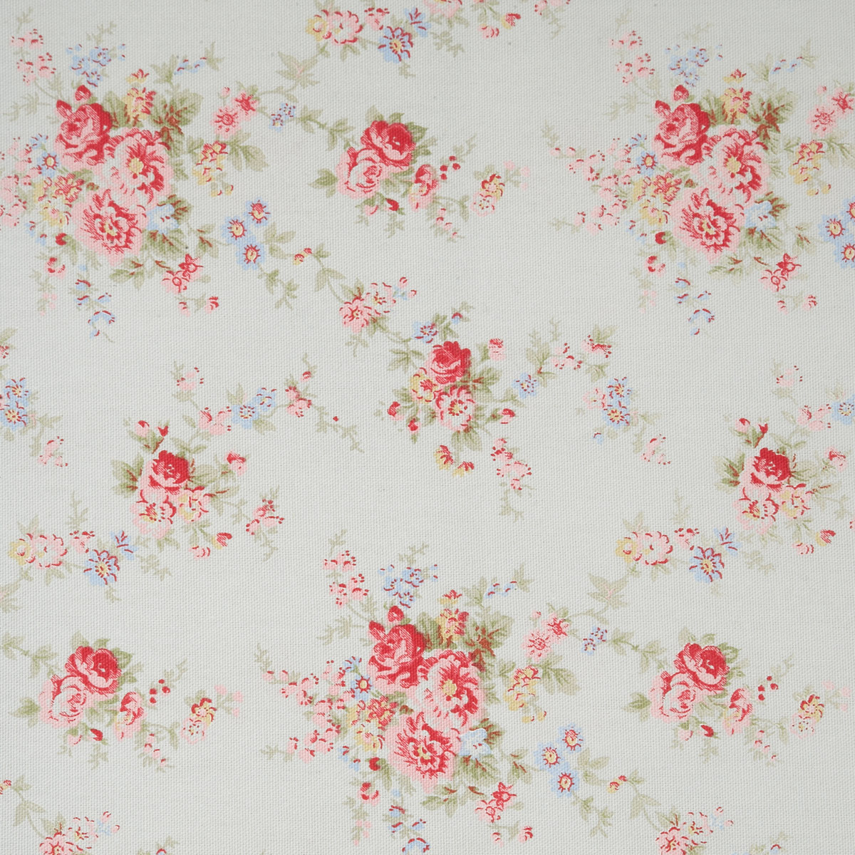 Washed Roses - Natural White - Detailed flower bouquet impressions on natural white fabric from Cath Kidston