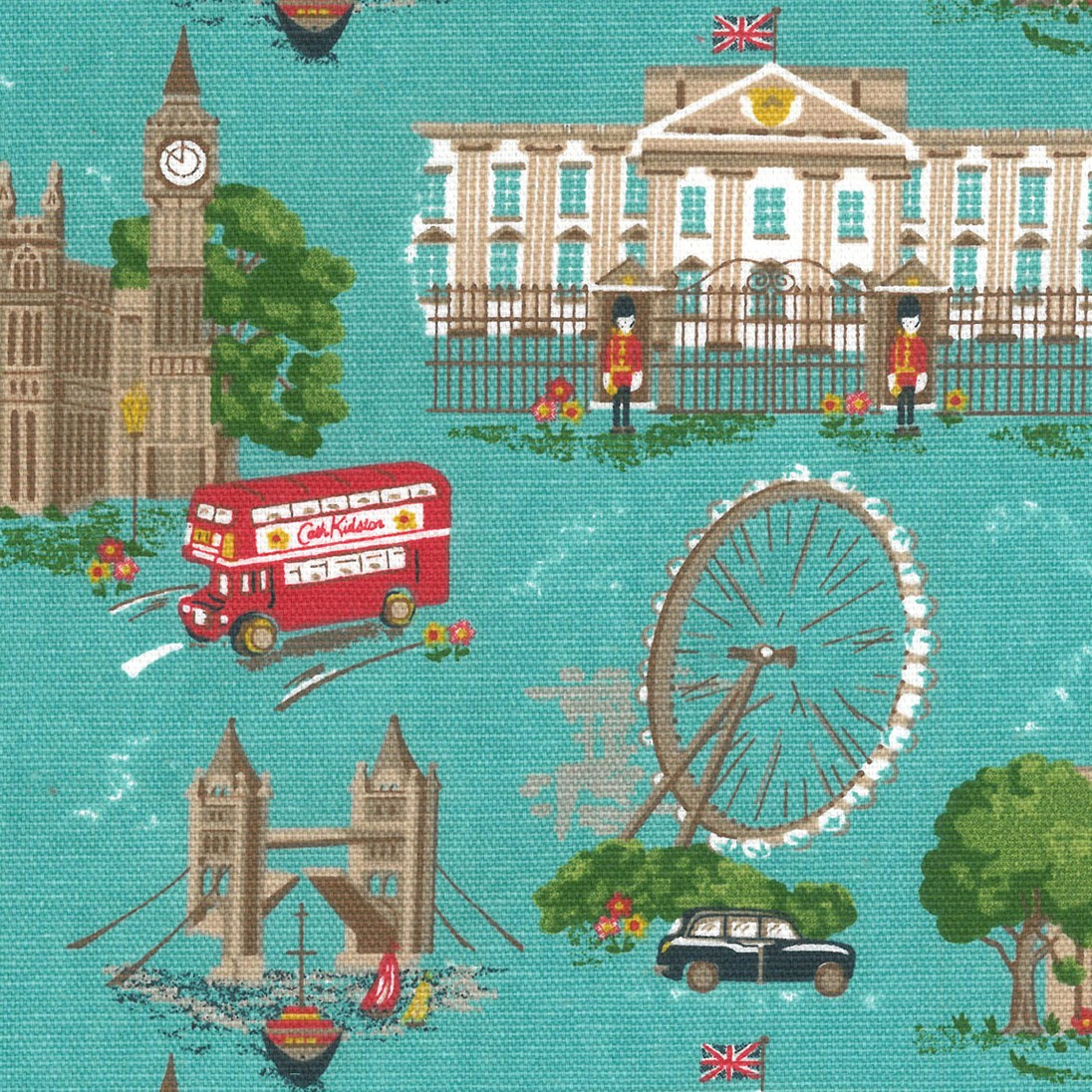 London Scene - Blue - Blue Cath Kidston cotton fabric with London style print
