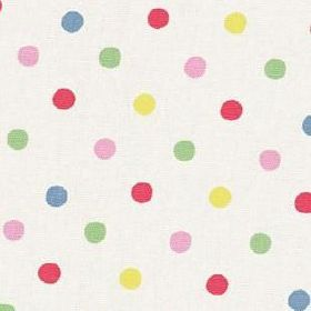 Dotty Cotton Duck - Multi - Cream Cath Kidston cotton fabric with multicolour polka dot pattern