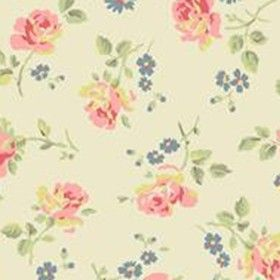 Cut Roses Cotton Duck - OLD WHITE - Cream Cath Kidston cotton fabric with vintage pink and blue flower print