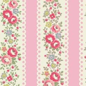 Lace Stripe Fabric - Pink - Cath Kidston pink cotton fabric with cream lace stripe and floral pattern