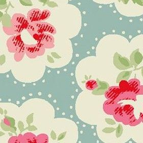 Provence Rose Cotton Duck - Blue - Cath Kidston blue cotton fabric with pink rose motifs in cream cloud shapes and small spot pattern