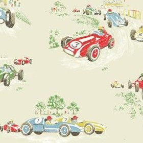 Vintage Car Cotton Duck - Stone - Cream white fabric with vintage race cars
