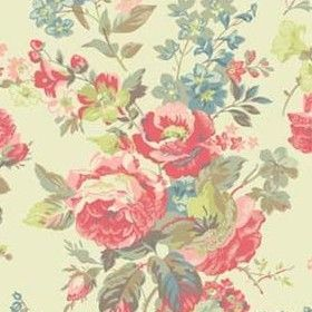 Portobello - White - Cath Kidston cream cotton fabric with large vintage pink and blue floral bouquet print