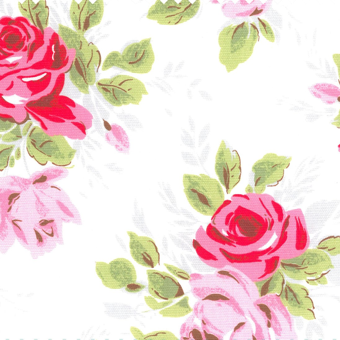 Rose Cotton Duck - White - Cath Kidston white cotton fabric with large pink and red flower design