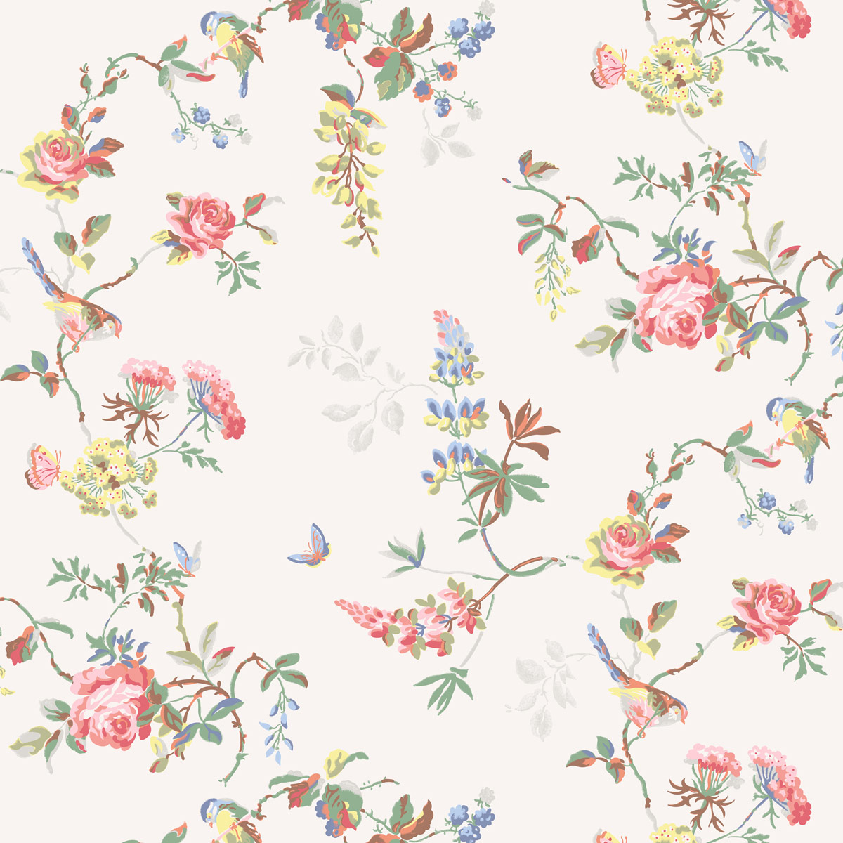 Birds & Roses Furnishing Fabric - White - Cath Kidston roses and birds impression on white fabric