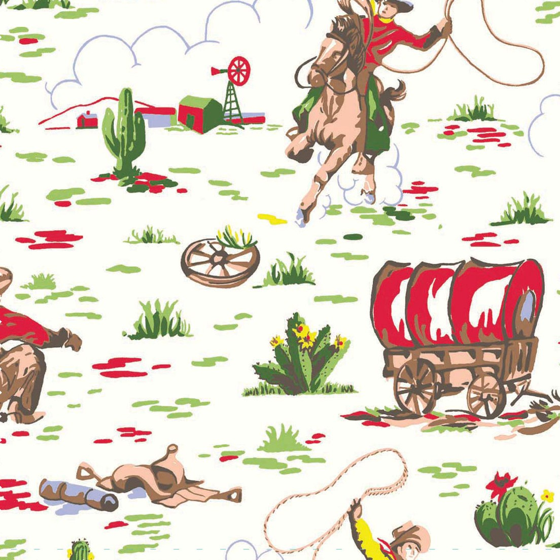 Cowboy - Cream - Cath Kidston cream cotton fabric with red and green cowboy design
