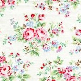 Chelsea Rose Furnishing Fabric - White - Cath Kidston roses pattern on white fabric