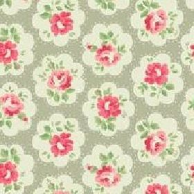 Provence Rose large Furnishing Fabric - Grey - Cath Kidston red and white flowers on grey linen fabric