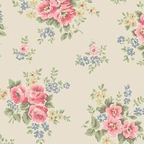Pinny Flowers Cotton Duck - Stone - Light sandy fabric with lively spring bouquet flowers
