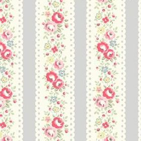 Lace Stripe Cotton Duck - Grey - White lace stripes with flowers on grey fabric
