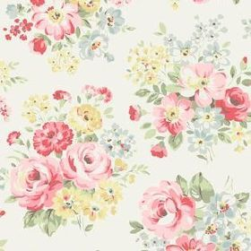 Spring Bouquet Cotton Duck - White - White fabric with lively spring bouquet flowers