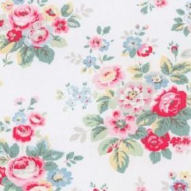 Trailing Floral Cotton Duck - White - White fabric with a lively flower bouquet pattern