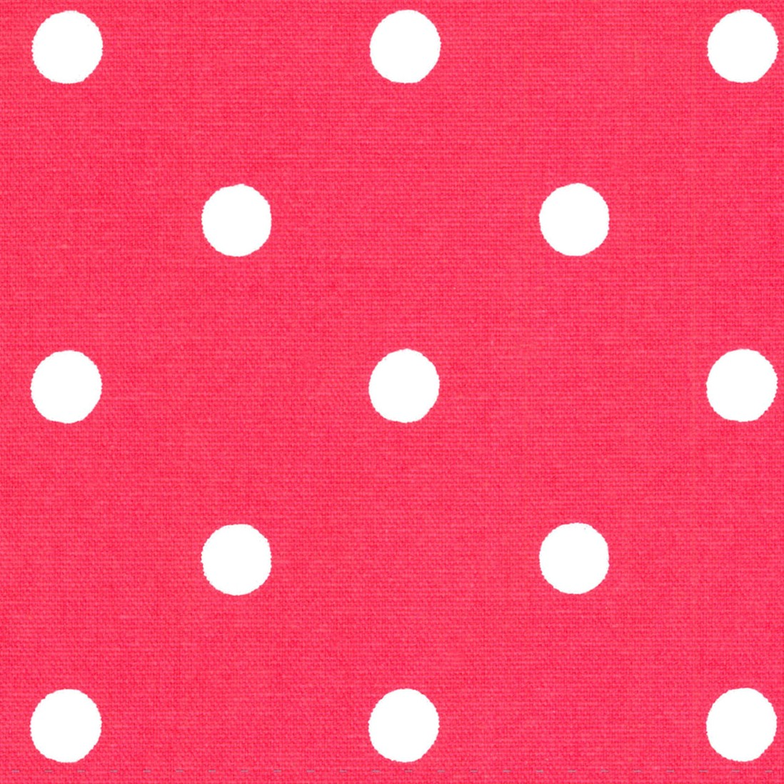 Spot Red Cotton Duck - Red - Red cotton fabric with white dots from Cath Kidston