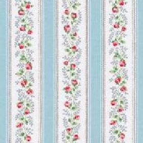 Tea Rose Stripe Cotton Duck - Blue - Light blue and white striped cotton fabric with red roses from Cath Kidston