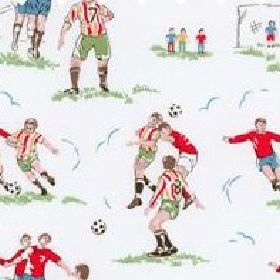 Footie Lightweight Cotton - White - White cotton fabric with football images from Cath Kidston