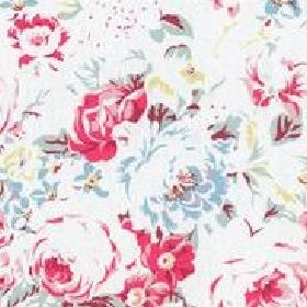 Greenwich Rose Cotton Duck - White - White cotton fabric with a detailed red and blue rose print from Cath Kidston