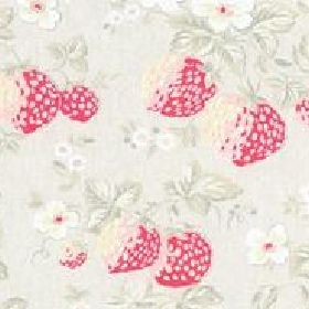 Greenwich Rose Cotton Duck - Stone - White cotton fabric with strawberries and green leaves from Cath Kidston