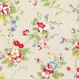Summer Blossom Cotton Duck - Stone - Light yellow cotton fabric with red and blue roses from Cath Kidston