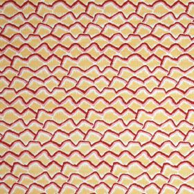 Bric A Brac - Belgravia Yellow - Irregular pale yellow, white and cherry coloured scallop-style lines printed on fabric made from linen and