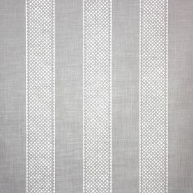 Hallelujah - Flint - Pale blue linen and polyamide blend fabric featuring a vertical stripe design with evenly spaced, patterned white bands