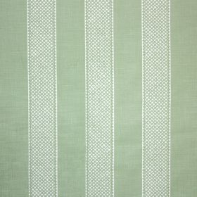 Hallelujah - Sage - Fabric made from linen and polyamide in white and pale green, printed with wide, patterned, evenly spaced stripes