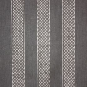 Hallelujah - Slate - Denim blue coloured 100% linen fabric behind a design of patterned, evenly spaced white vertical stripes