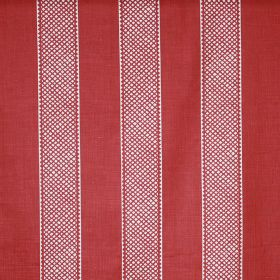 Hallelujah - Victoria Red - Linen and polyamide blend fabric in tomato red and white, with a striped design which is wide, evenly spaced & p