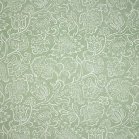 Jacobean At Night - Sage - Ornate white flowers and leaves detailed in white over a light green linen and polyamide blend fabric background