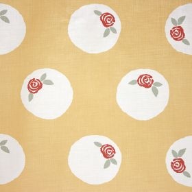 Sugar Plum - Belgravia Yellow - White circles containing small red roses and light green leaves on apricot coloured fabric made from linen a
