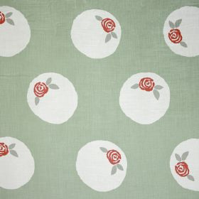 Sugar Plum - Sage - Light green linen and polyamide blend fabric patterned with white circles containing small red roses and green leaves