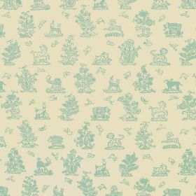 Beasties - Aqua - Light aqua blue coloured trees, birds, horses, animals, elephants and camels on linen and cotton blend fabric in cream