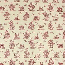 Beasties - Red - Deep red and off-white coloured linen and cotton blend fabric patterned with rows of trees, birds, horses and animals