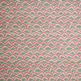 Bric A Brac - Sage - Uneven scalloped lines printed in white and two shades of pink on a light green linen and polyamide fabric background