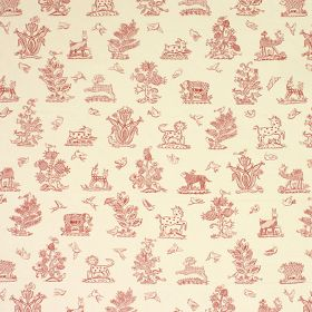 Beasties - Red2 - Linen and cotton blend fabric printed with rows of trees, animals, horses, camels and elephants in dusky pink and cream