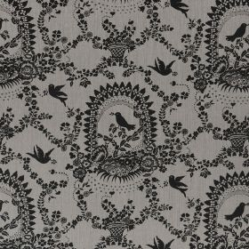 Bird Song - Charcoal - Pretty, delicate, ornate patterns, flowers and birds printed in charcoal on mid-grey coloured 100% linen fabric