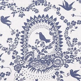 Bird Song - French Blue - White 100% linen fabric printed with denim blue coloured birds, flowers, arches, leaves, dots and pretty patterns