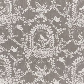 Bird Song - Ivory - White flowers, birds, arches dots and pretty patterns on a mid-grey 100% linen fabric background