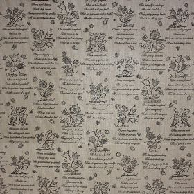 Birds & Bees - Charcoal - Fabric made entirely from black and grey coloured linen, patterned with rows of simple flowers and lines of text