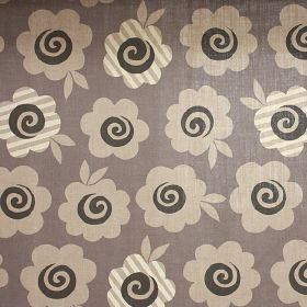 Candy Flower - Hurricane Grey - Plain and striped simple flowers in light grey and cream, with dark grey swirled centres,on mid-grey 100% l