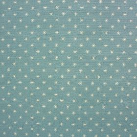 Classical Night Star - Aqua - Small white asterisk style stars printed in rows over a bright sky blue coloured linen and cotton blend fabric