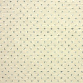 Classical Star - Aqua - Cream coloured linen and cotton blend fabric printed with rows of tiny asterisk style stars in bright, light blue