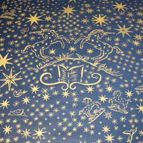 History Gold - Navy - Royal blue and gold coloured 100% cotton fabric featuring a fun, mythical pattern of unicorns, stars, books and swirls
