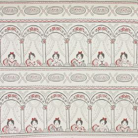 Isabella - Grey - A grey and red repeated design of a woman sitting in an arched theatre-style balcony on pale grey 100% cotton fabric