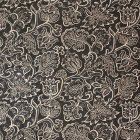 Jacobean At Night - Charcoal - Black 100% linen fabric patterned with a large, ornate, detailed design of leaves and flowers in white