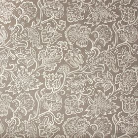Jacobean  - Ivory - Fabric made from grey and white 100% linen printed with a large, ornate, detailed pattern of flowers and leaves